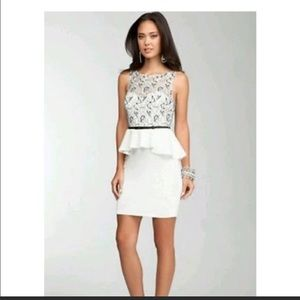 Bebe Peplum and lace cocktail dress